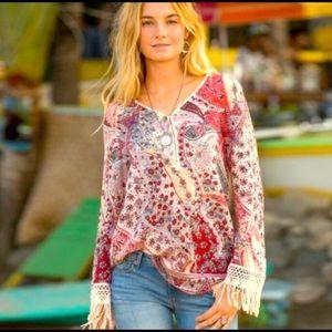 Sundance Terrazza Crochet Fringe Blouse